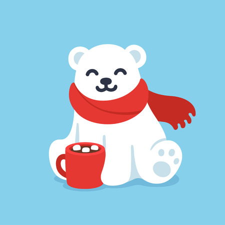 Cute cartoon polar bear in red scarf with hot chocolate cup. Christmas and winter holidays greeting card vector illustration.