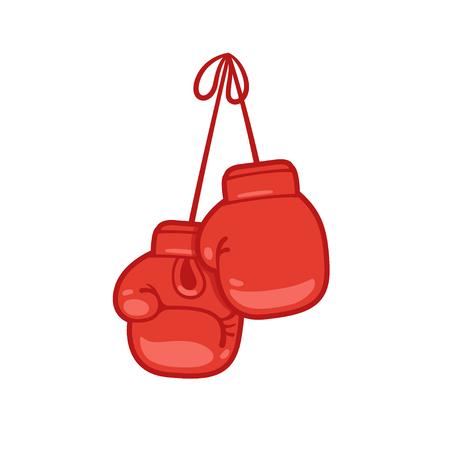 Hangende bokshandschoenen cartoon vector illustratie.