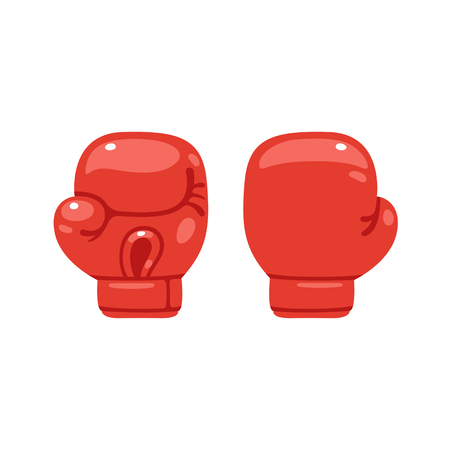 punching: Cartoon red boxing glove icon, front and back. Isolated vector illustration.