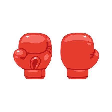 Cartoon rode bokshandschoen icoon, voor- en achterkant. Geïsoleerde vector illustratie. Stockfoto - 67688506