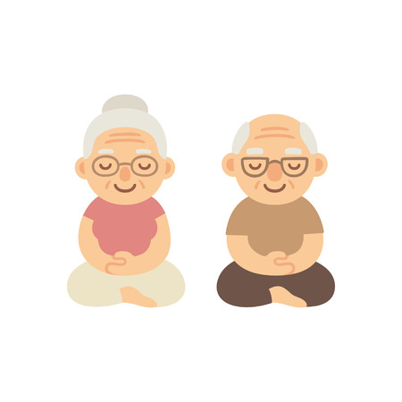 Meditating senior couple. Cute cartoon old people sitting in meditation. Healthy lifestyle illustration.