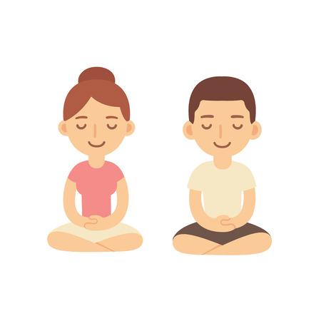 man meditating: Young woman and man couple meditating in lotus pose. Cute cartoon meditation illustration.