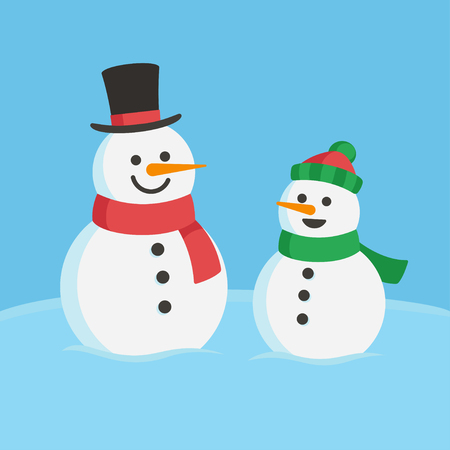 two child: Snowman family illustration. Two cute cartoon snowmen, dad and child. Illustration