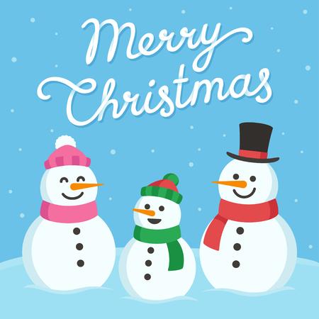 0d000edd376a0  67688514 - Linda tarjeta de felicitación de Navidad. la familia del muñeco  de nieve (madre