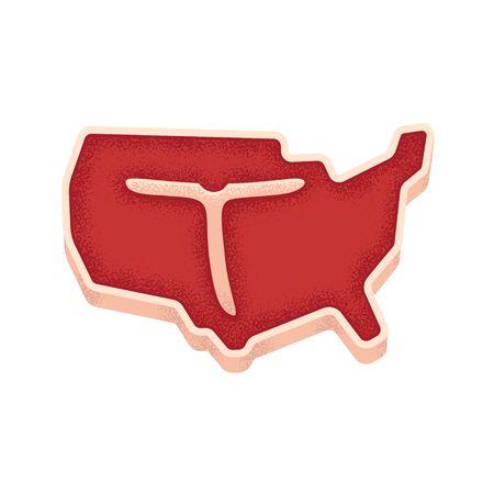 T bone steak in shape of United States map. American meat illustration. Vintage print texture.