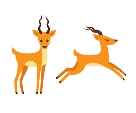 African antelope cartoon drawing. Standing and running side view. Isolated vector illustration.