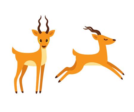 Afrikaanse antilope cartoon tekening. Staand en lopend zijaanzicht. Geïsoleerde vectorillustratie. Vector Illustratie