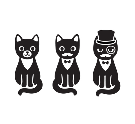 dressy: Cute cartoon drawing of black and white tuxedo cat with mustache and hat. Funny cat gentleman.