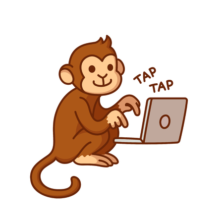 Monkey typing on computer, funny vector illustration. Cute cartoon chimp working on laptop.