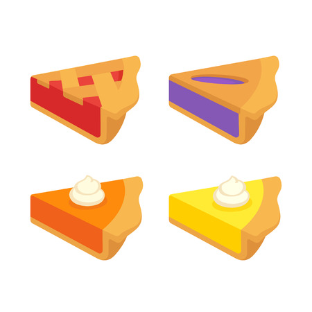 Set of traditional American pies: Pumpkin, Lemon, Strawberry and Blueberry pie. Flat cartoon vector illustrations. Illustration