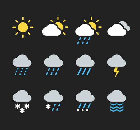Modern weather icons set. Flat vector icons on dark background.