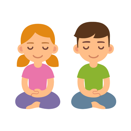 Cartoon meditating children, boy and girl. Cute meditation and mindfullness illustration.