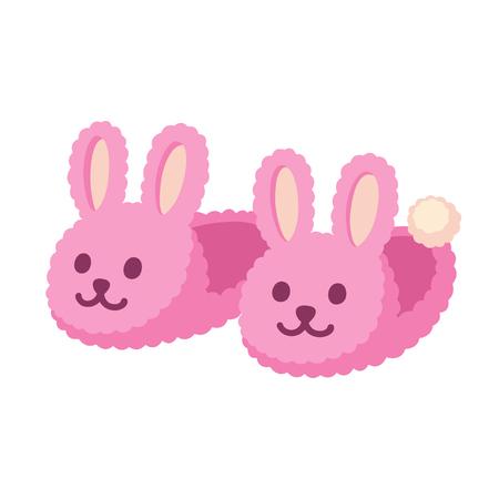Par de zapatillas caseras borrosas del conejito. Lindo conejo de color rosa zapatos ilustración vectorial de dibujos animados.
