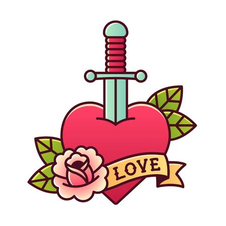 Traditionelle Herz und Dolch-Tätowierung mit Rose und Band mit Wort Liebe.