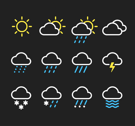 rain weather: Weather line icons set. Sunny, clouds, different types of precipitation, rain and snow. Vector pictograms on dark background.