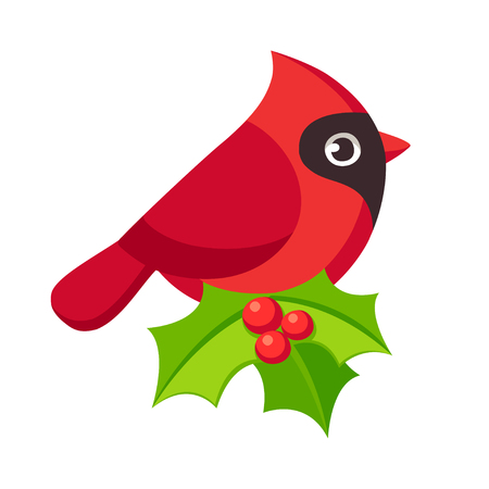 Cute cartoon red cardinal bird illustration with holly leaves. Holiday Christmas decoration, greeting card design element. Illustration