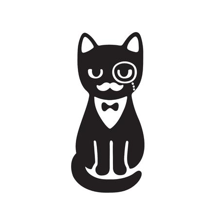 Smoking kat met monocle en vlinderdas. Grappige cartoon vector tekening. Zwart-witte kat met stijlvolle gentleman snor.