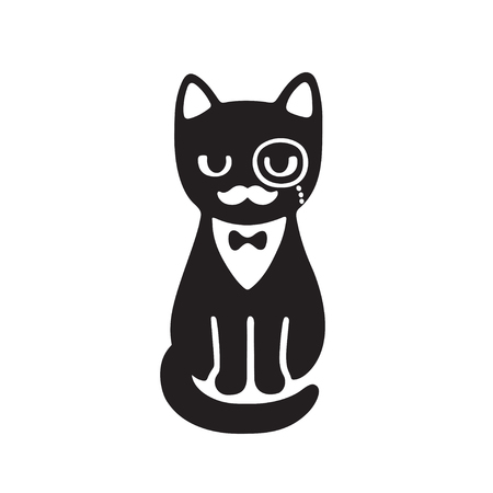 Tuxedo cat with monocle and bow tie. Funny cartoon vector drawing. Black and white cat with classy gentleman mustache.