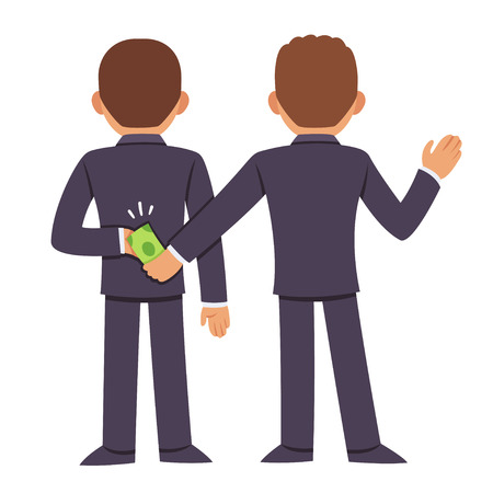 from behind: Corruption and bribery concept. People in business suits giving bribe behind back. Cartoon vector illustration.