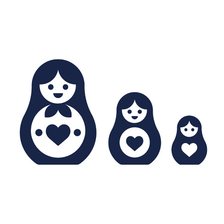 Set of Russian nesting dolls, Matryoshka. Simple modern style vector icons.