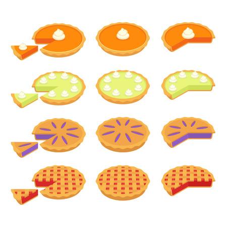Reeks traditionele Amerikaanse pastei: Pompoen, Zeer belangrijke Kalk, Aardbei of Kers en de cake van de Bosbes. Hele en gesneden plakjes. Platte cartoon vectorillustraties.
