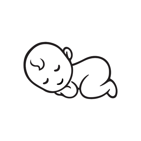 infant: Sleeping baby silhouette, stylized line. Cute simple vector illustration.