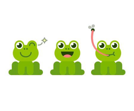 かわいい漫画のカエルのセット。愛らしい小さなカエル笑顔、まばたき、キャッチは、舌で飛ぶ。シンプルなフラット スタイルのベクトル図です。