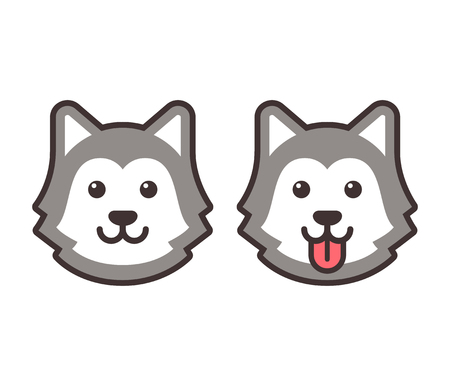 alaskan: Cute cartoon husky dog head icons, smiling and sticking out tongue. Flat simple vector illustration.