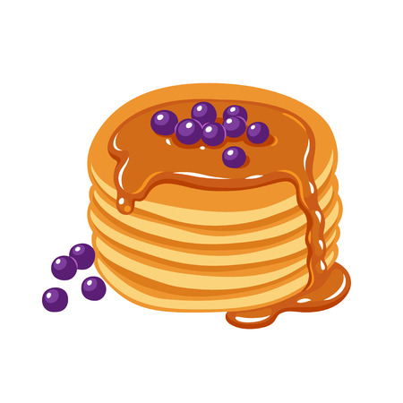 Traditional breakfast food, pancakes with maple syrup and blueberries. Cartoon hand drawn vector illustration. Ilustracja