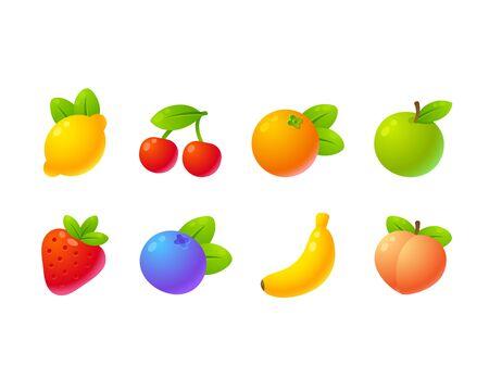 Bright cartoon fruit icon set: apple, strawberry, orange, peach, banana, cherry, lemon, blueberry. Isolated vector illustration. Stock Illustratie