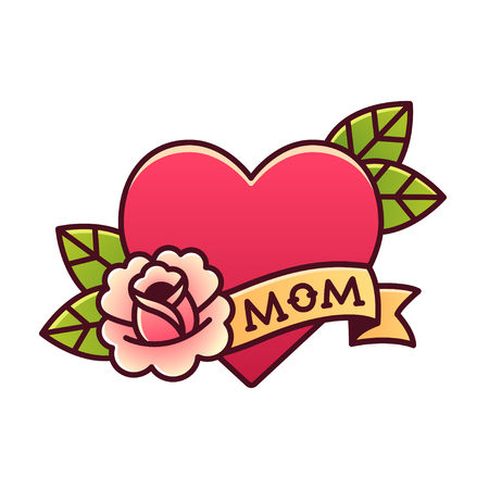 rose tattoo: Tattoo heart with rose and ribbon with word Mom. Classic American old school retro vector illustration.
