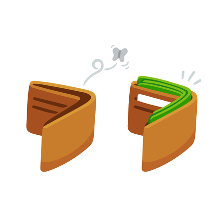 Cartoon wallet, full with cash and empty with moth. Business and finance vector illustration.