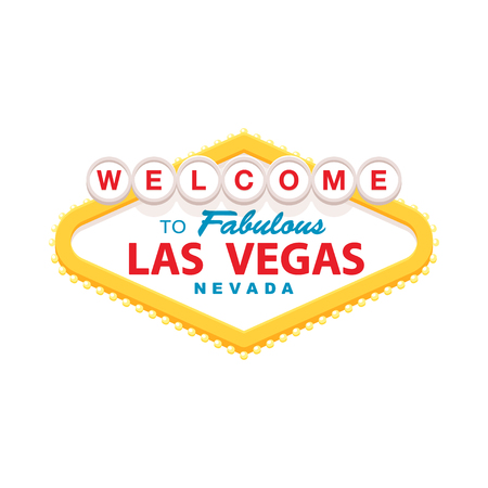 las vegas strip: Classic retro Welcome to Las Vegas sign. Simple modern flat vector style illustration.