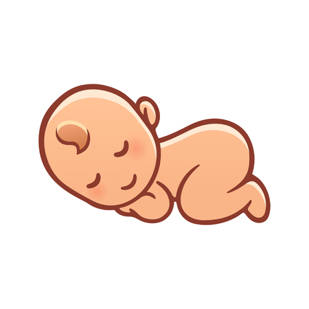 baby care: Cute sleeping baby drawing. Simple cartoon vector illustration.