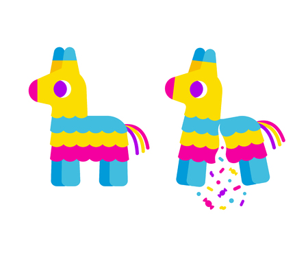 paper mache: Bright striped cartoon pinata. Broken with confetti and candy. Cute simple flat vector illustration.