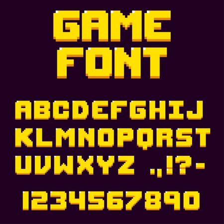 ピクセル レトロなビデオゲームのフォント。8 ビットの文字と数字の書体。