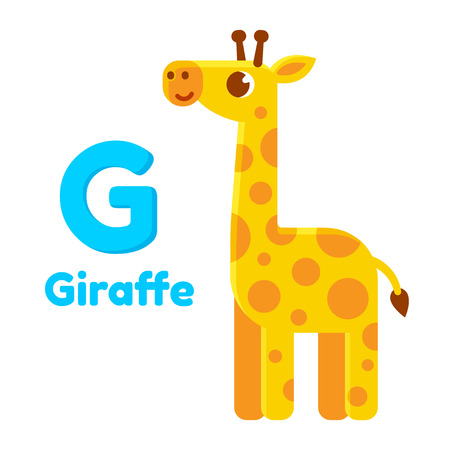 g spot: Cute cartoon giraffe, letter G of animal alphabet. Modern flat vector style.