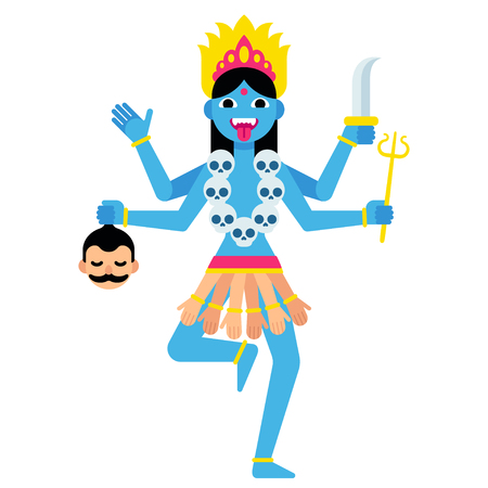 Hindu goddess Kali with traditional attributes - severed head, skulls and weapons. Cartoon vector illustration in modern flat vector style.