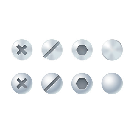 slotted: Screw and bolt heads set, different types and shapes. Isolated vector design elements. Illustration