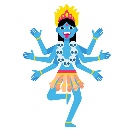 Hindu goddess Kali. Cartoon vector illustration in modern flat vector style. Illustration