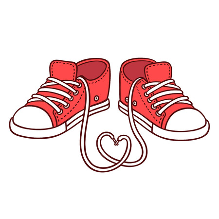 Pair of red sneakers with laces in heart shape, St. Valentines day illustration. Cute cartoon vector drawing.
