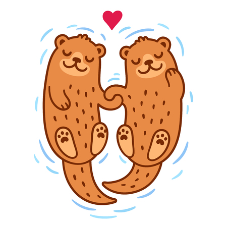 Cute cartoon otter couple holding hands. Valentines Day greeting card illustration.