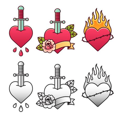 Traditionele hart tattoo set, met dolk, roos, lint en vuur. Klassieke Amerikaanse oldschool flash tatoeages in kleur en zwart-wit.