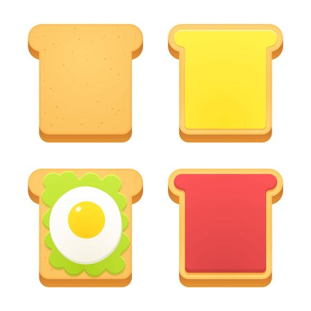 buttered: Breakfast toast set. Slices of toast with butter, jam, avocado and fried egg. Flat cartoon style vector illustration.