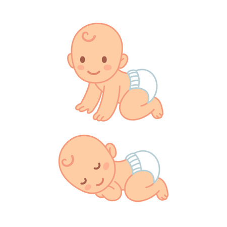Cute cartoon baby in diaper sleeping and crawling. Vector newborn illustration set. Иллюстрация