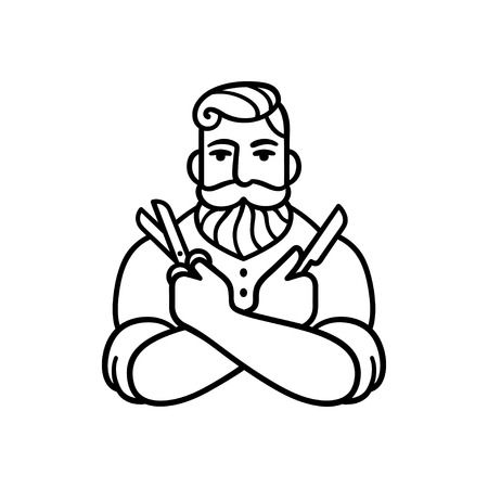 beard man: Retro style Barber man with comb and shaving blade. Stylized logo illustration. Hipster barber with beard.