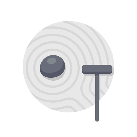 raking: Minimal Japanese rock garden icon. Stone and rake on sand, simple Zen garden vector illustration. Illustration