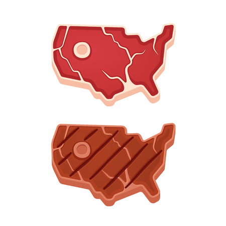 Beef steak in shape of USA map, raw and grilled. American meat illustration.