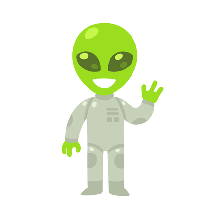 humanoid: Cute cartoon alien drawing. Little green waving humanoid in spacesuit, isolated vector illustration.