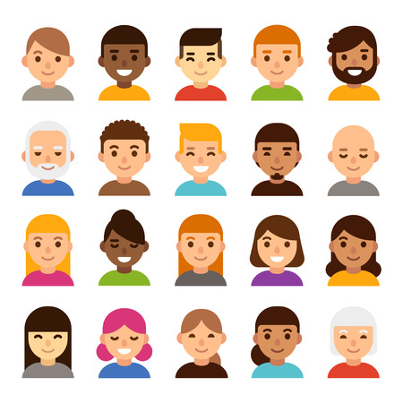 Set of diverse male and female avatars, simple flat cartoon style. Cute and minimalistic people faces, vector illustration.